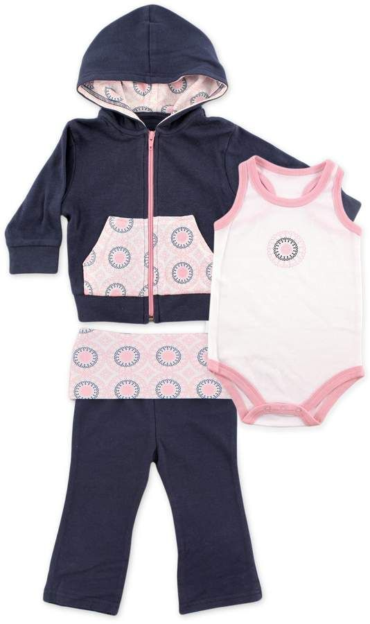 7c4265bff5efb1 BabyVision Yoga Sprout Ornamental Hoodie, Bodysuit, and Pant Set in  Navy/Pink #hoodie#racerback#bodysuit