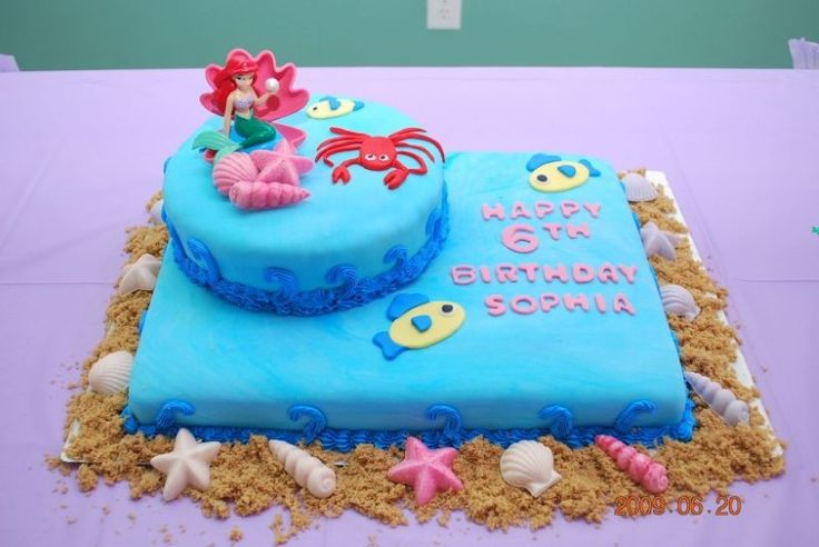 Little Mermaid Cake - make round cake a sandcastle and add more detail to the rectangle ocean