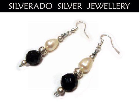 Natural Black Faceted Onyx Fresh Water Pearls Beads Earrings FREE SHIPPING on Etsy, 32,00€