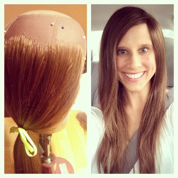 Compassionate Creations - Made in the USA - $1,500 - Client modeling  a wig made with her own hair