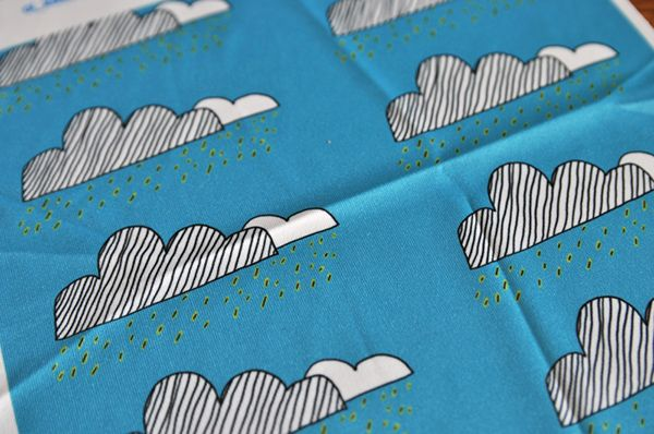 Illustrated fabric #clouds