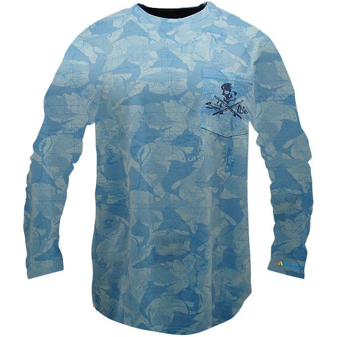 Camo fish crossed poles slx long sleeve pocket tee for Salt life long sleeve fishing shirts