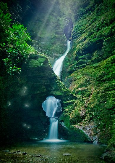 Enchanting waterfall at St Nectan's Kieve near Tintagel, North Cornwall, England
