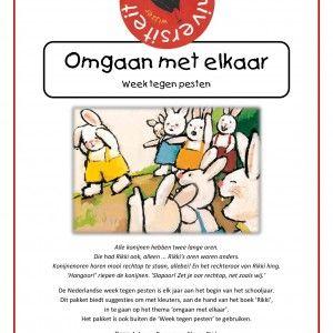 Omgaan-met-elkaar De Nederlandse Week tegen pesten is elk jaar aan het begin van het schooljaar. Dit pakket biedt activiteiten om tijdens deze week met kleuters in te gaan op het thema 'omgaan met elkaar'. Het project richt zich vooral op het creëren van een positief groepsklimaat door middel van gesprekken, spellen en creatieve opdrachten aan de hand van het boek Rikki van Guido van Genechten. Het pakket is ook buiten de 'Week tegen pesten' te gebruiken.