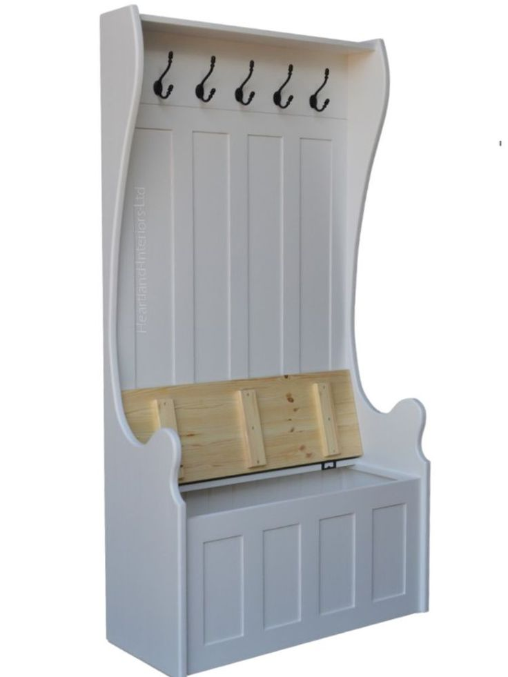 White Painted Monks Bench, Tall Hallway Storage Seat with Integral Coat Rack