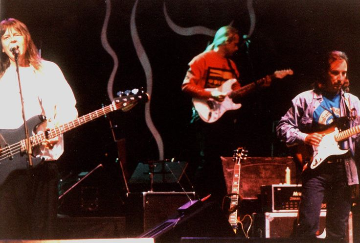 """Randy Meisner, Jack Sundrud and Jim Messina with """"Poco"""" during the """"Legacy Tour"""" in 1990."""