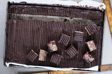 Cranberry and chocolate fudge slice