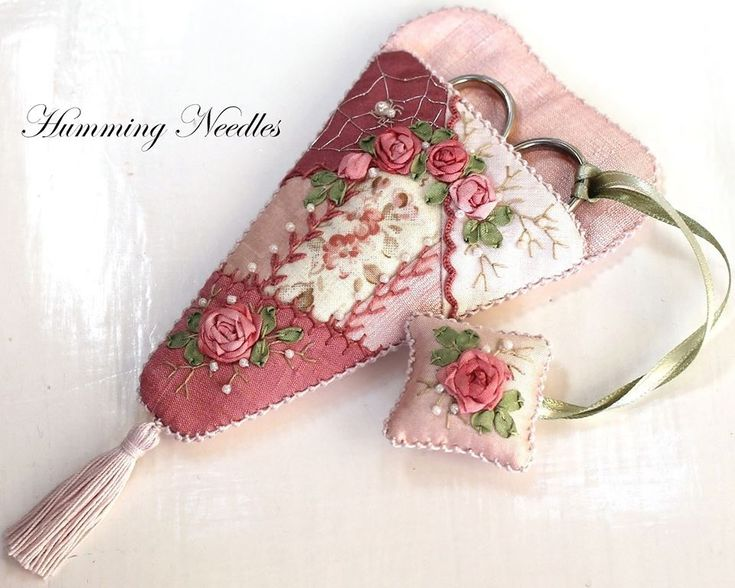 Ribbon embroidery, scissors case