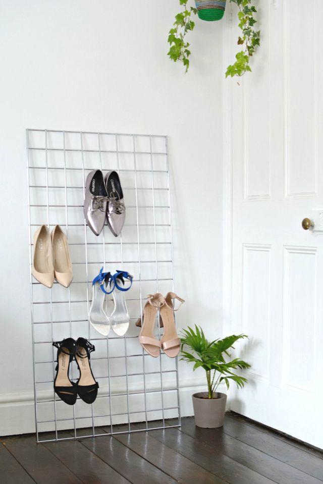 DIY | grid shoe storage display