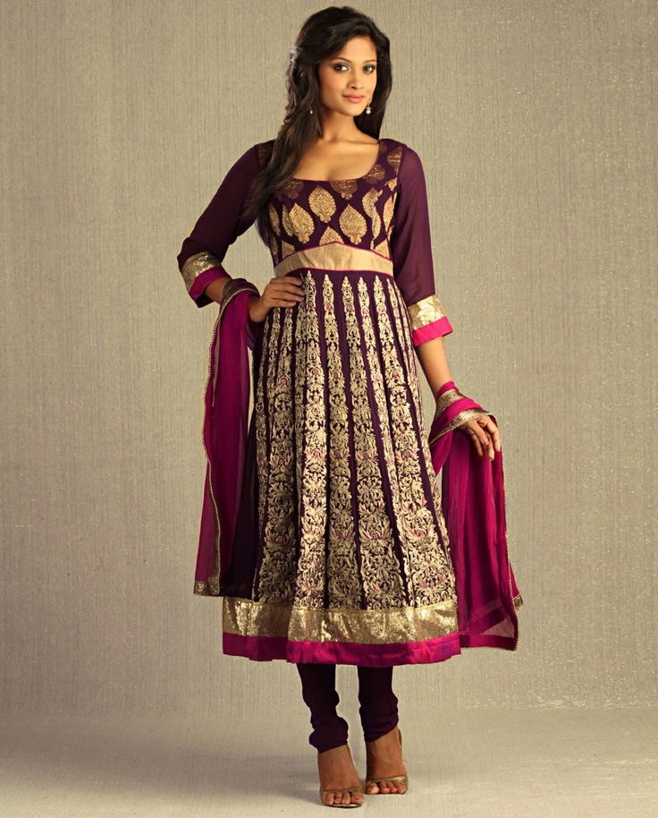 Aubergine Kalidar Suit with Magenta Pink Dupatta - Exclusively In