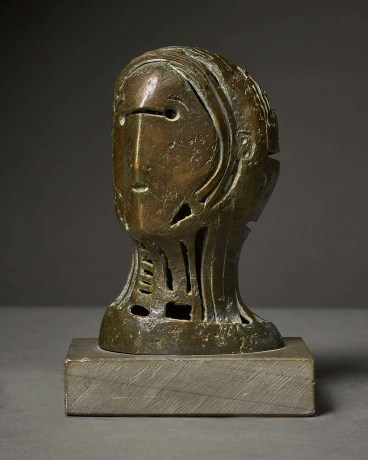 Henry Moore (Castleford, 1889-1986, Much Hadham) Maquette for Openwork Head No. 2 Bronze