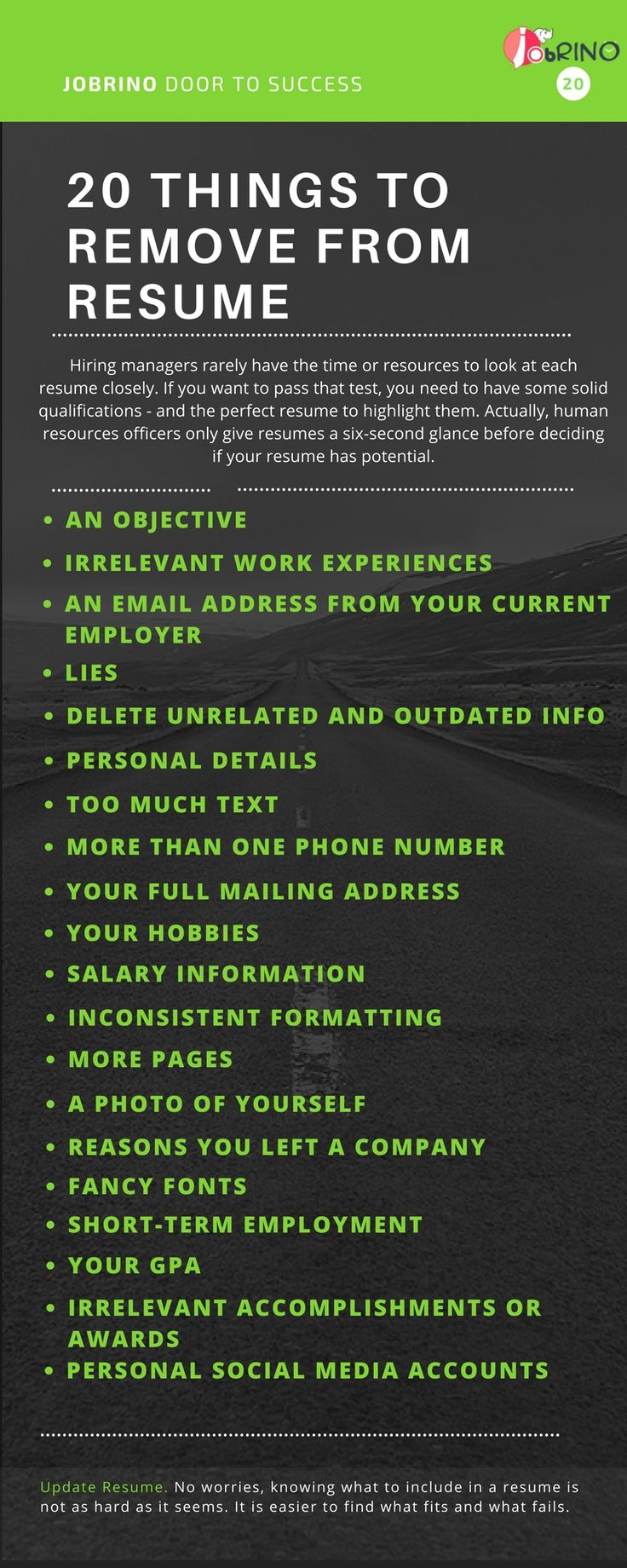 20 Things to remove from the #resume . Here are some essential points to be kept in mind and make or update your #resume .Get free tips in how to write an effective resume for finding a #job