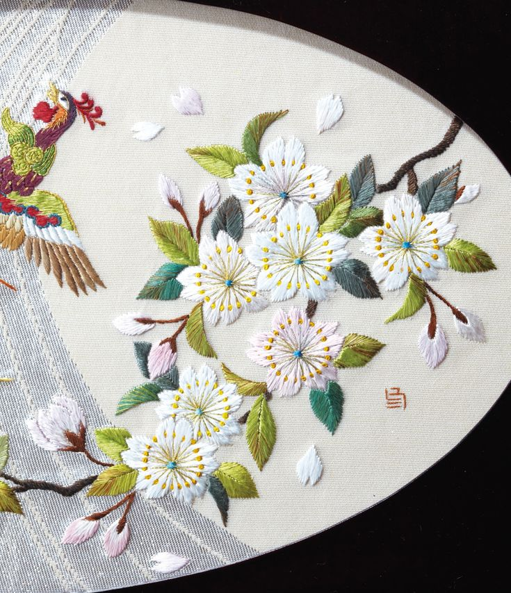 Traditional Japanese flower embroidery