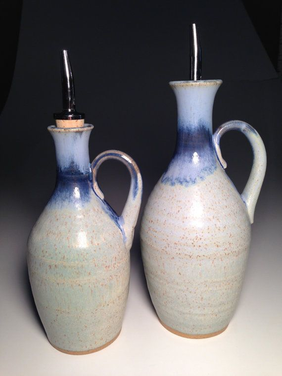 Handcrafted Pottery Olive Oil Vinegar Cruet Set Dispenser