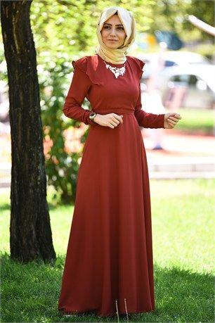 Taşlı Kolyeli Elbise - Turuncu - MATAŞ