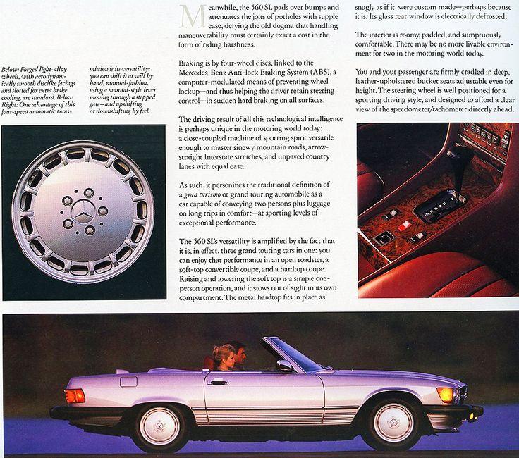 1987 Mercedes 560SL brochure page.
