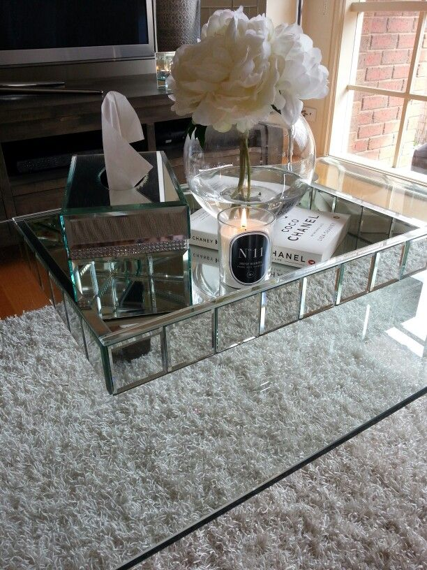 @BOMBARDIER DESIGNS coffee table obsession, scented candle #11, chanel, mirrored, white, glass. peonies.