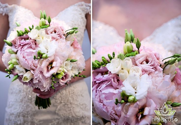 Delicate bouquet made of peony, lisianthus and fresia flowers #pinkwedding #weddingflowers #bouquete #peony #bukietslubny #hibiskus.pl
