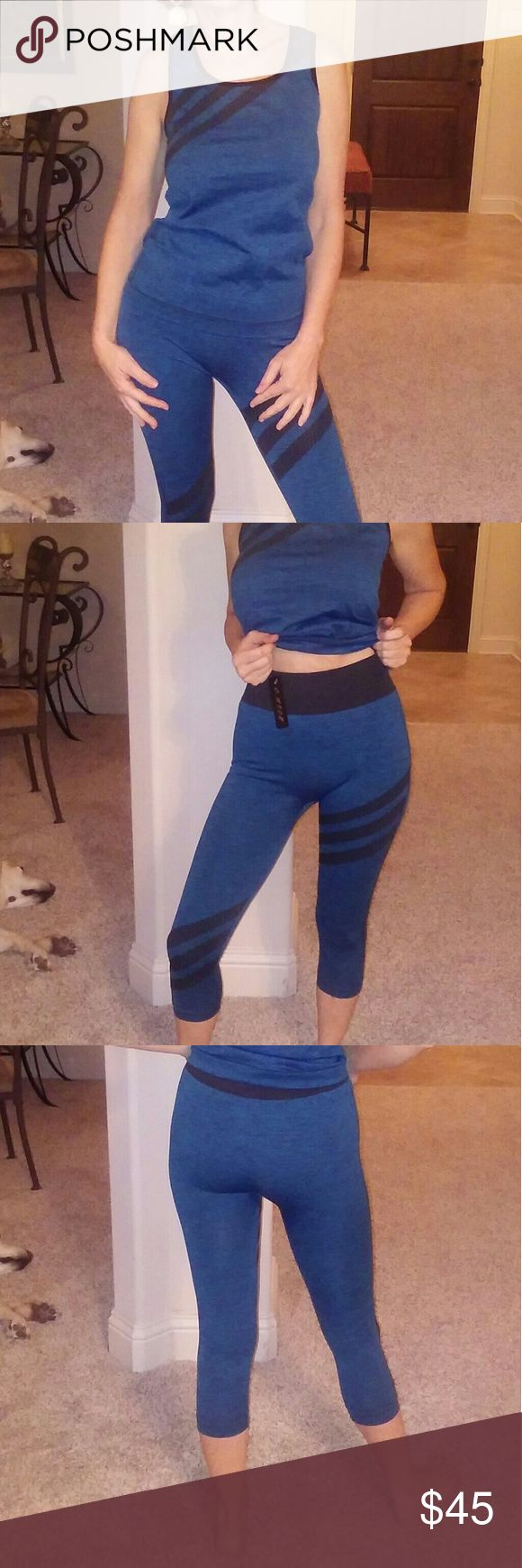 NEW blue black 2 piece tank capri leggings XS-L NEW NWT 2 piece active wear leggings and racer back tank Blue w black trim and accent stripes. Great for the gym. Work out wear. Gorgeous indigo blue. Fab color. ONE SIZE FITS XS-L Other
