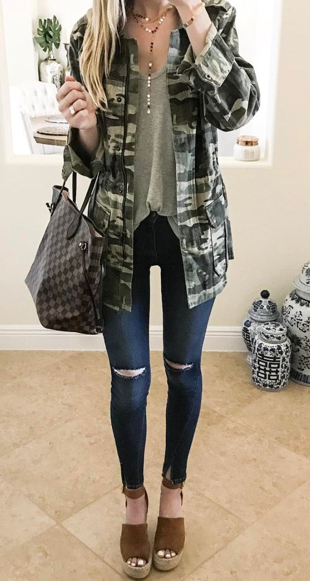 camo jacket. Find your Inspiration @ #DapperNDame Pinterest. dapperanddame.com