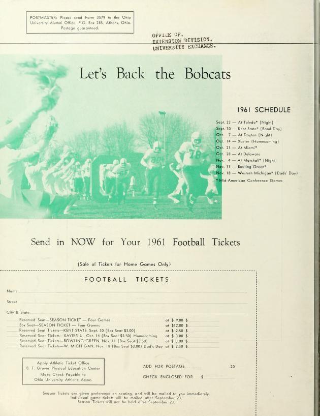 The Ohio Alumnus, June 1961. Football schedule for 1961. :: Ohio University Archives