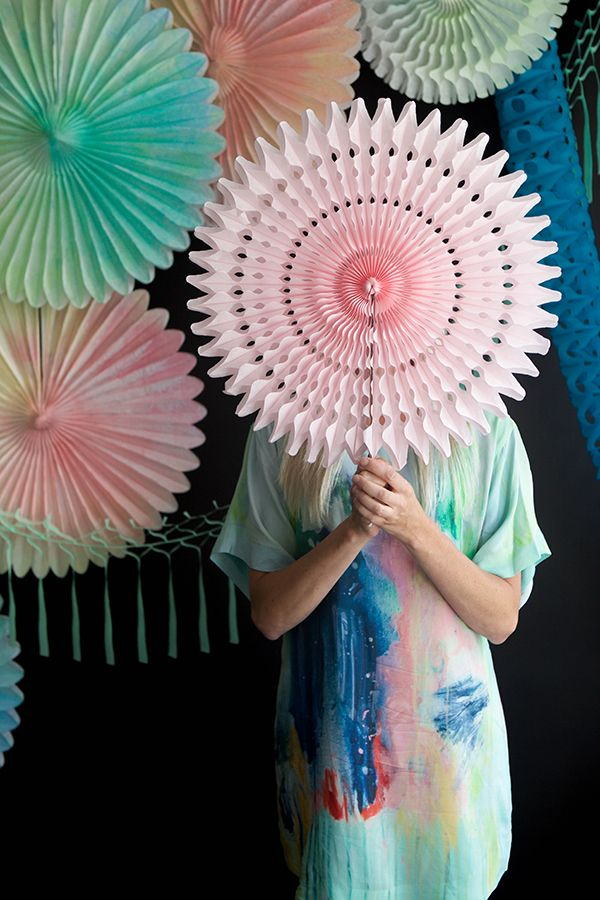 Watercolor Fans DIY | Oh Happy Day! - this would be super fun to make with Party Partners Honeycomb Tissue Fan Sets!