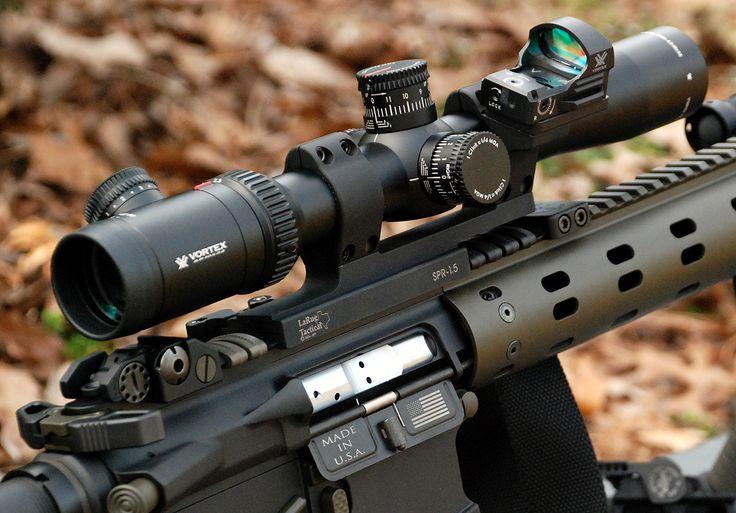 Vortex Viper PST 2.5-10x32, FFP, Illuminated; Larue SPR mount, troy battle sights.