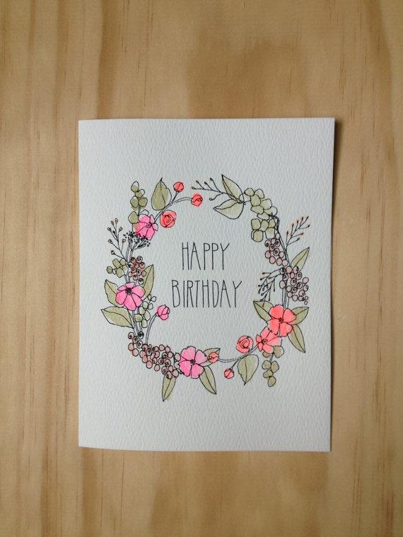 Floral Wreath Birthday Card by HartlandBrooklyn on Etsy, $4.50
