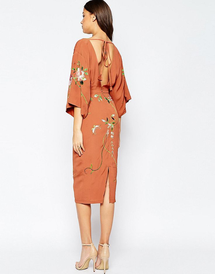 Image 2 of ASOS TALL Kimono Midi Dress With Embroidery                                                                                                                                                                                 More
