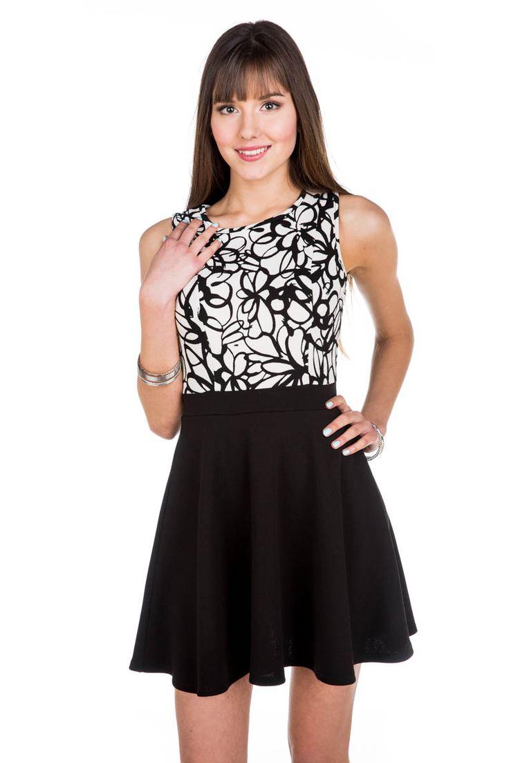 Floral Print Sleeveless Skater Dress