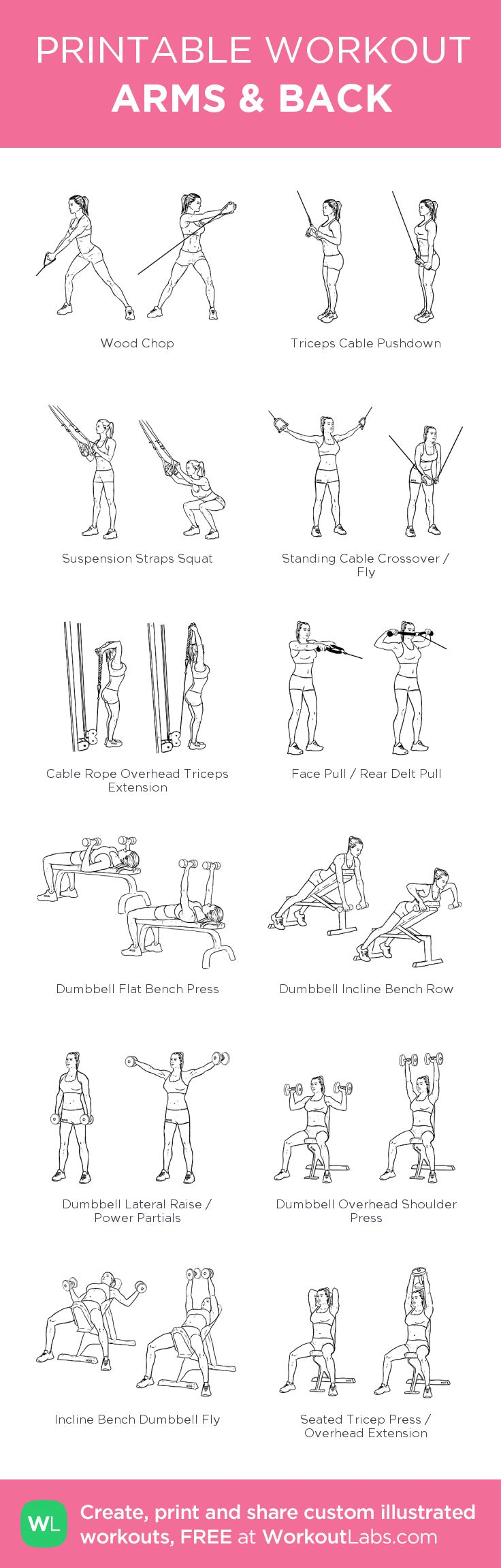 ARMS & BACK:my visual workout created at WorkoutLabs.com • Click through to customize and download as a FREE PDF! #customworkout