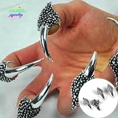 Punk prata banhado strass Dargon garras anéis de unhas ajustáveis para mulheres