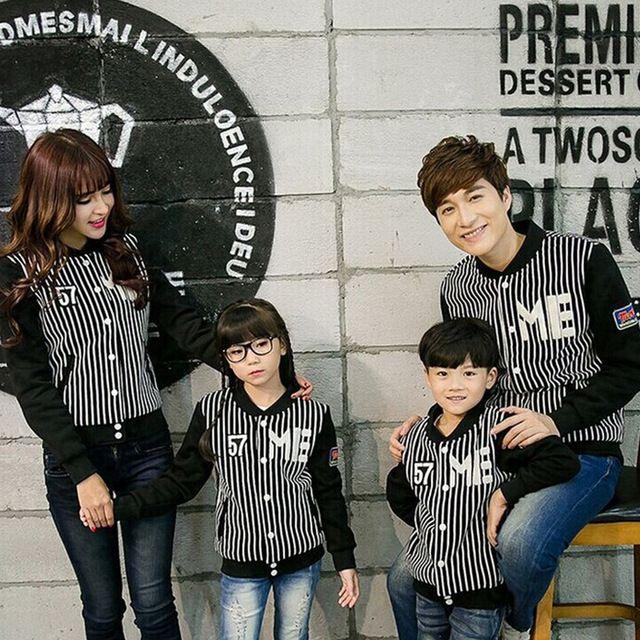 Meninos da menina família equipado Look de inverno Outerwear casacos roupas de beisebol Matching mãe e filha pai e filho roupas Pullovers