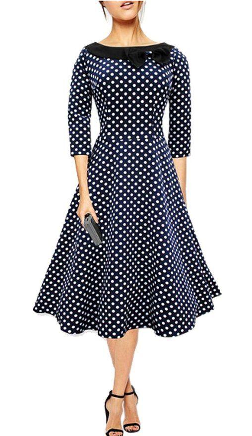 LECHEERS Women Vintage Elegant Casual Polka Dot 1950'S Retro Party Dress Blue XL