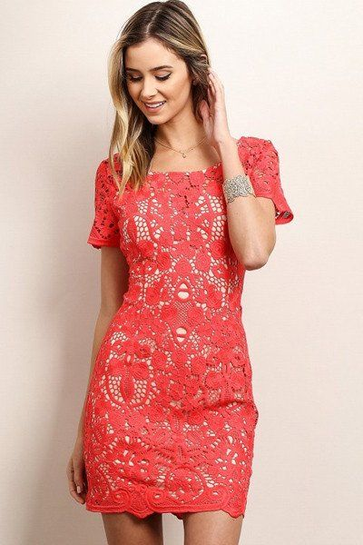 Simply Smitten Coral Lace Dress - ShopLuckyDuck  - 1
