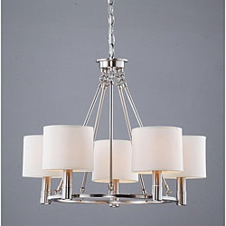 @Overstock - An antique nickel finish highlights this elegant 5-light chandelier. This light fixture features a light beige shade.http://www.overstock.com/Home-Garden/Indoor-5-light-Antique-Nickel-Chandelier/5184452/product.html?CID=214117 $152.99