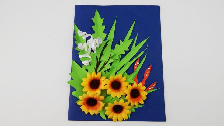 Greeting card with flowers plants grasses DIY Scrapbooking quilling papercraft silk flower
