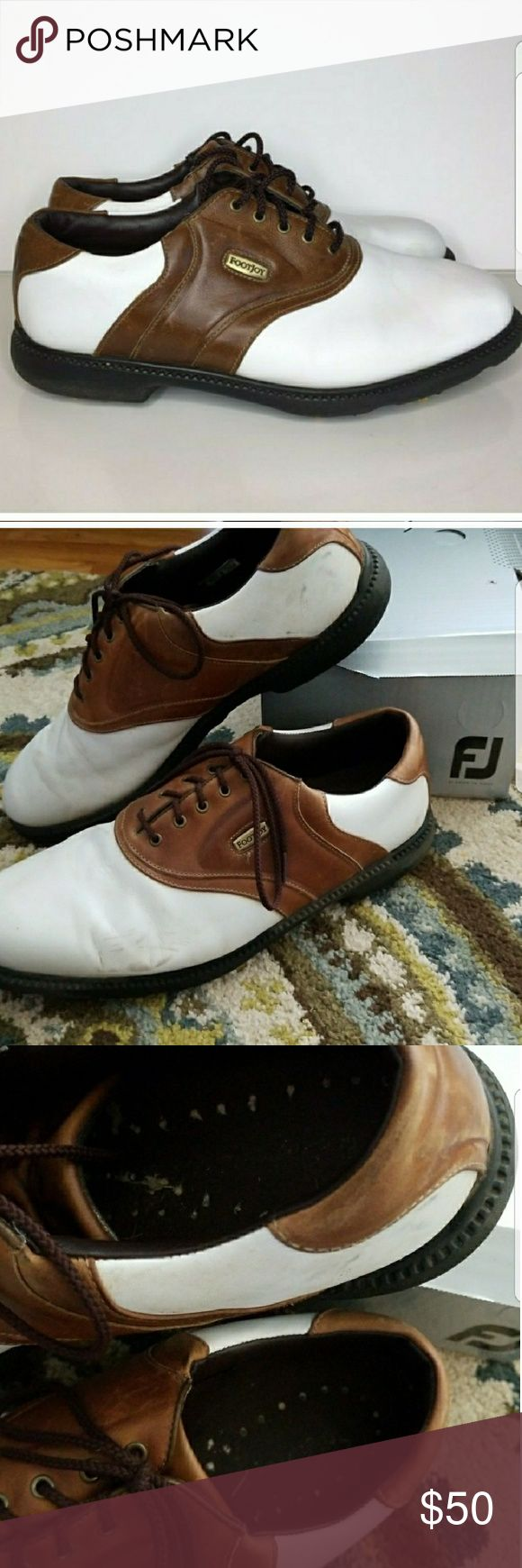 Foot Joy Superlites Mens Golf Shoe sz 12 White and brown mens golf shoes.  Style # 58049 Worn a few times some wear on whites but in good shape. Has cleats on bottom with some wear.  Great for Fathers Day! I Have several pairs of sz 12 golf shoes feel free to ask questions and I am more than happy to bundle or discount! Shoes Athletic Shoes