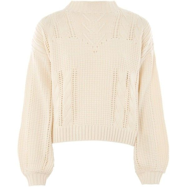 Topshop Lingerie Aran Jumper (£34) ❤ liked on Polyvore featuring tops, sweaters, topshop, cream, pink cable sweater, pink jumper, cable-knit sweater, cable jumper and chunky cable knit sweater