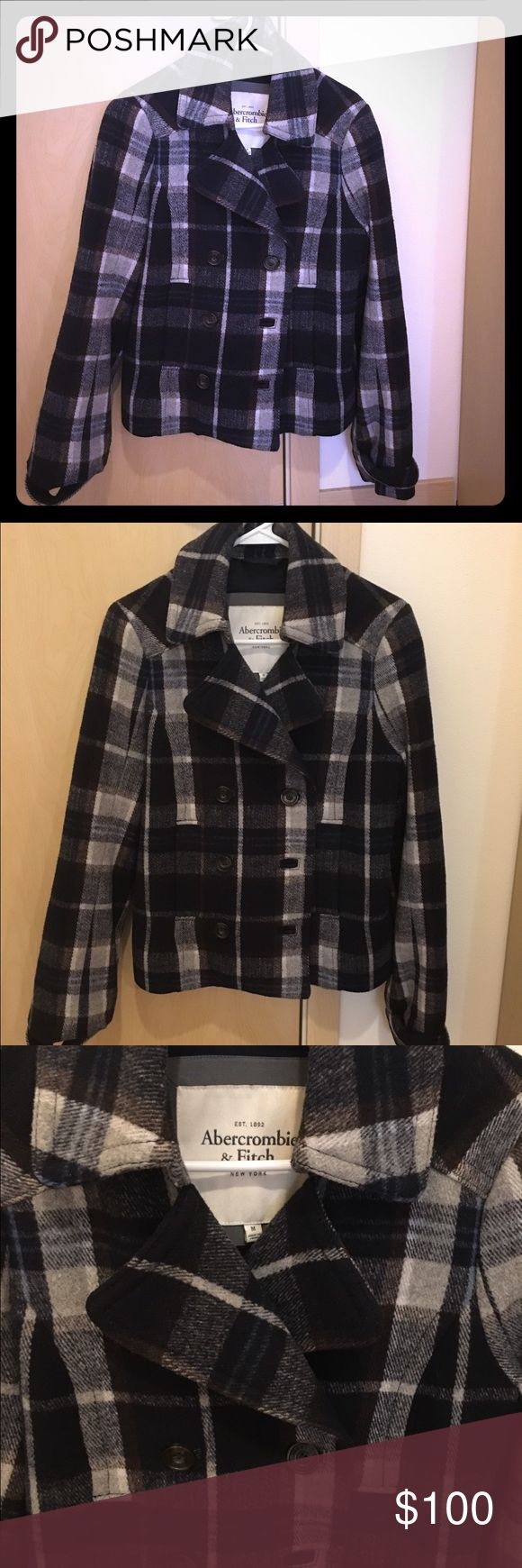 Abercrombie and Fitch Plaid Pea coat EUC Abercrombie and Fitch plaid pea coat. Buttons close. super silky interior and two pockets in the front that snap close. Such a cute jacket and there are no stains, rips or flaws at all. It is in fantastic condition! Size M Abercrombie & Fitch Jackets & Coats Pea Coats