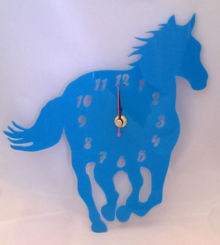 Handmade acrylic laser cut 'Henry The Horse' clock Designed and laser cut in Pembrokeshire, South West Wales!