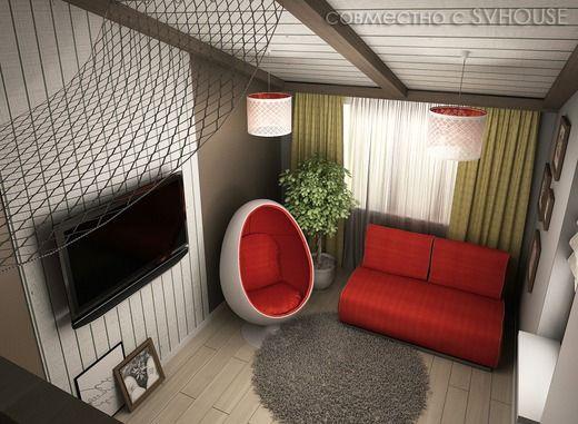 Детская комната на мансарде частного дома. Детская