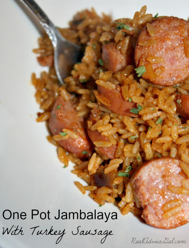 This One Pot Jambalaya With Turkey Sausage Recipe is the perfect solution for a busy weeknight!