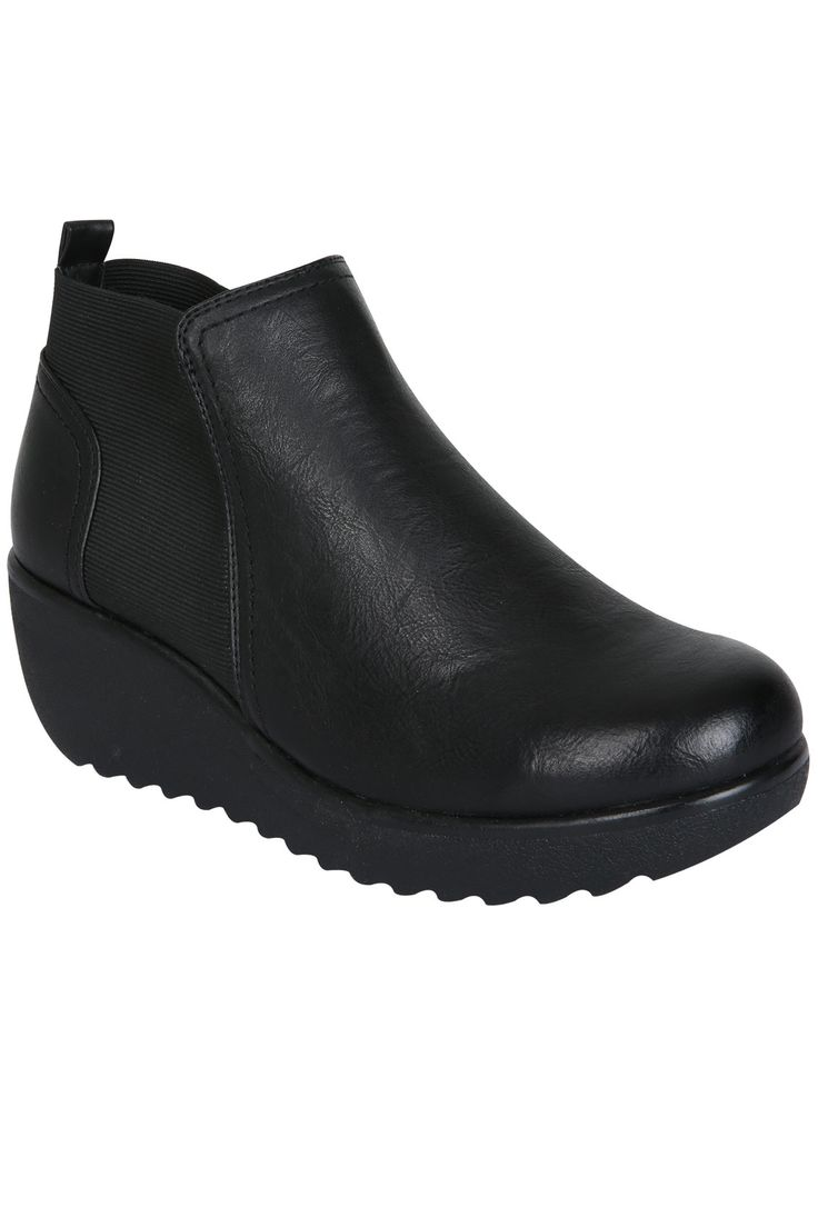 Black Wedge Ankle Boots With Elasticated Panel EEE Fit