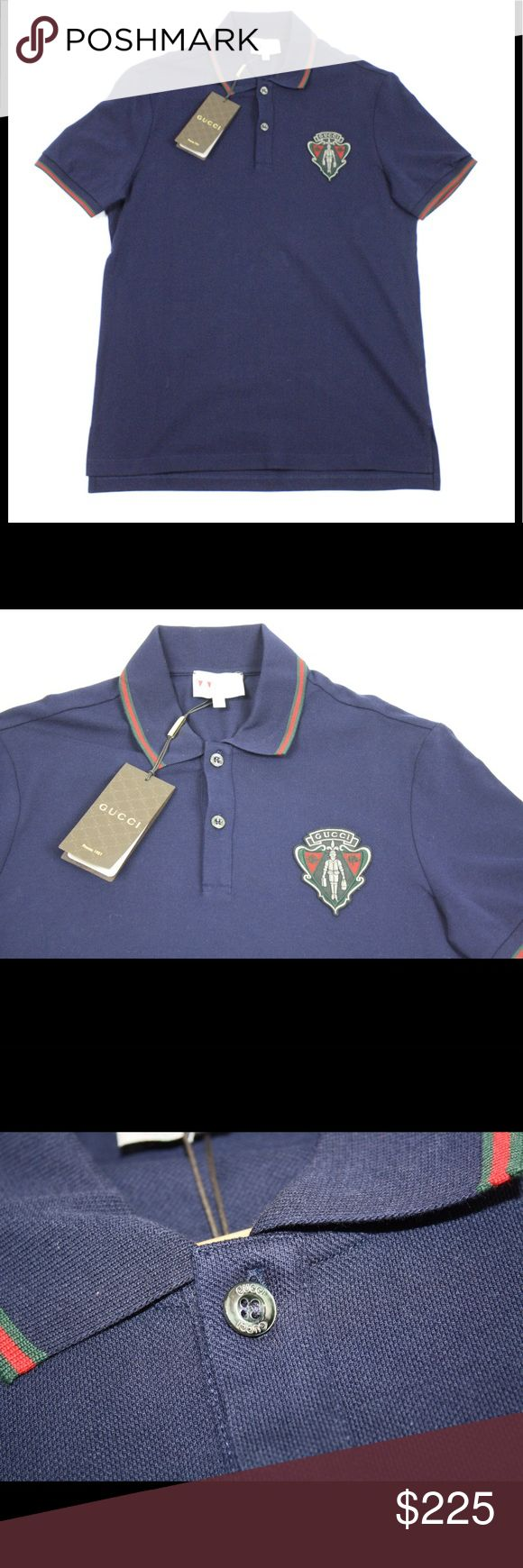 """[Gucci] men's equestrian polo shirt emblem small [Gucci] men's equestrian polo shirt with emblem patch - men's small -100% cotton - navy blue - chest 37"""" - length 27.5"""" - sleeve 8"""" - shoulder 17"""" - new with tags Gucci Shirts Polos"""