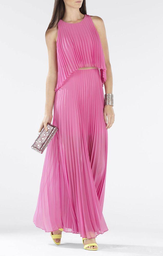 BCBG MAXAZRIA Shaina Dress Gown Pink Gloss Size XXS #400 NWT ...