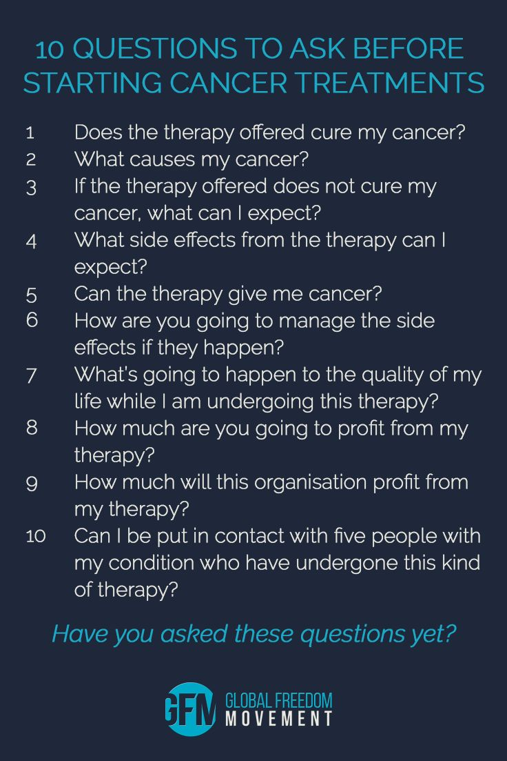 Ten questions to ask before starting cancer treatments | Global Freedom Movement