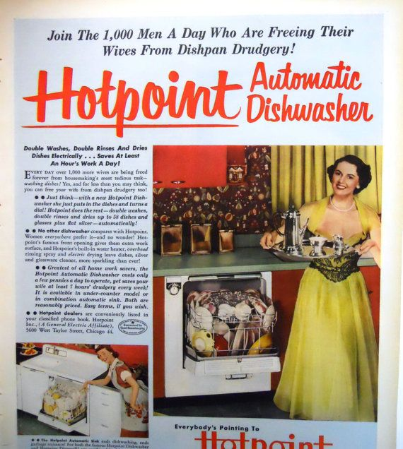 Retro Hotpoint Dishwasher Magazine Advertisment by mamiezvintage