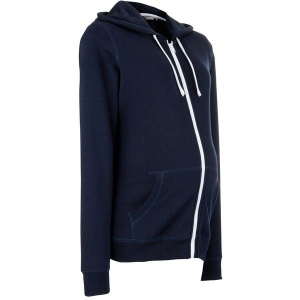 Maternity Navy Zip Up Hoodie ❤ liked on Polyvore featuring maternity, maternity clothes and pregnant
