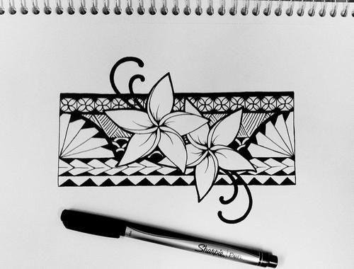 samoan ink   samoan samoa plumeria plumeria flower samoan band armband tattoo